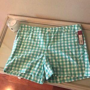 Merona Size 12 NWT! Green  & white check shorts!